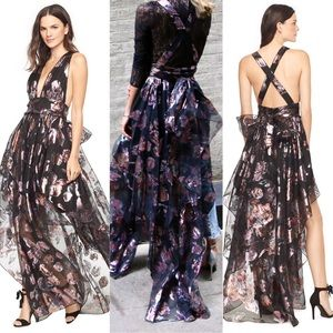 Milly Angie Plunging Floral Metallic Organza Gown